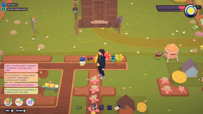 A farm in Ooblets where crops are growing into usable items.