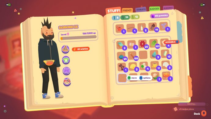 The player has collected four recipe pieces that can be assembled into recipes in Ooblets.