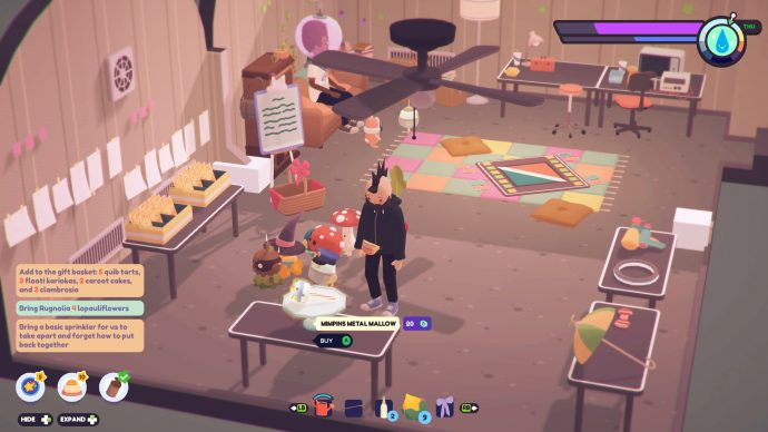 Browsing the Mimpkins clubhouse item selection in Ooblets.