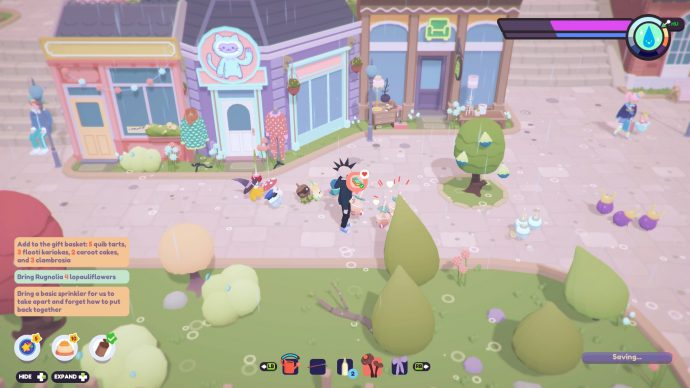 Finding a group of three Ooblets that want to dance in exchange for a Quib Tart..