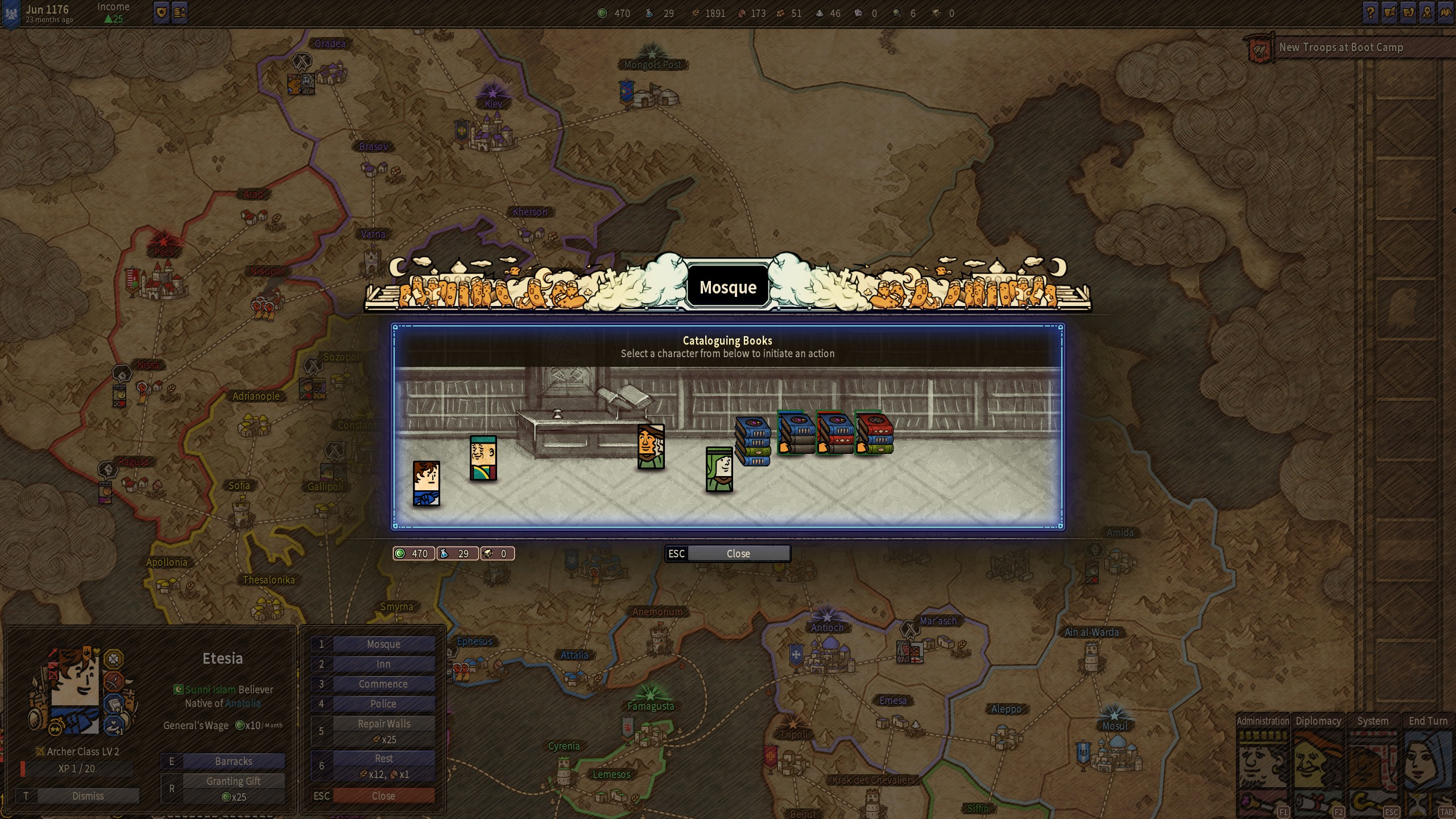 A screenshot of a match-three mini-game in Plebby Quest: The Crusades, where the player must place books in a library.