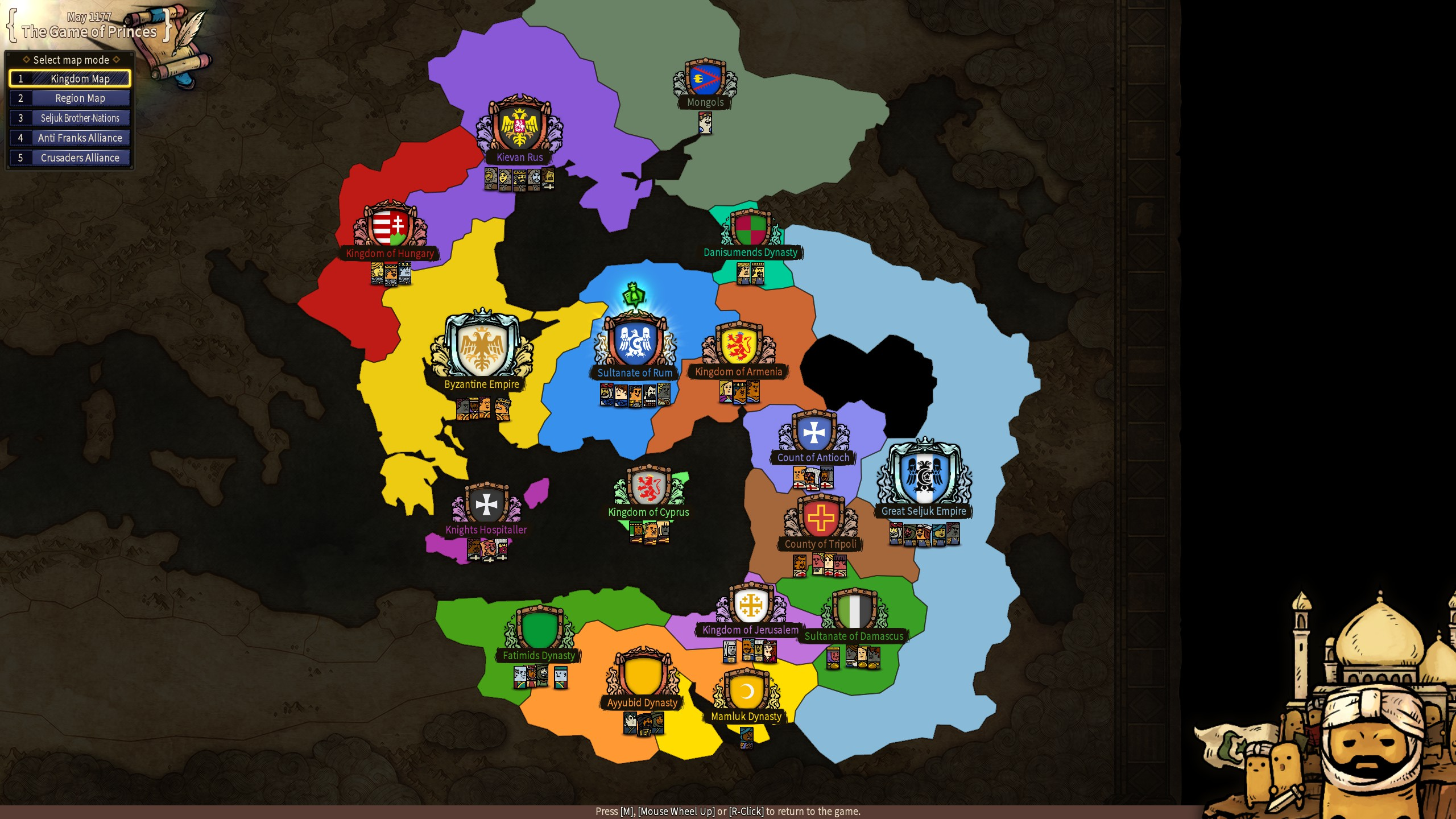 A screenshot showing a map of Kingdoms in Plebby Quest: The Crusades, with areas including the Sultanate Of Damascus and the Great Seljuk Empire