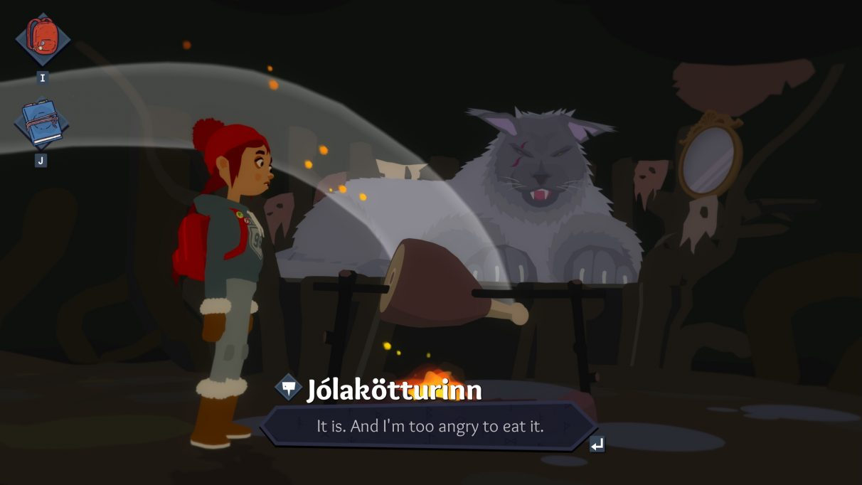 A screenshot of Röki showing Tove talking to a giant cat.