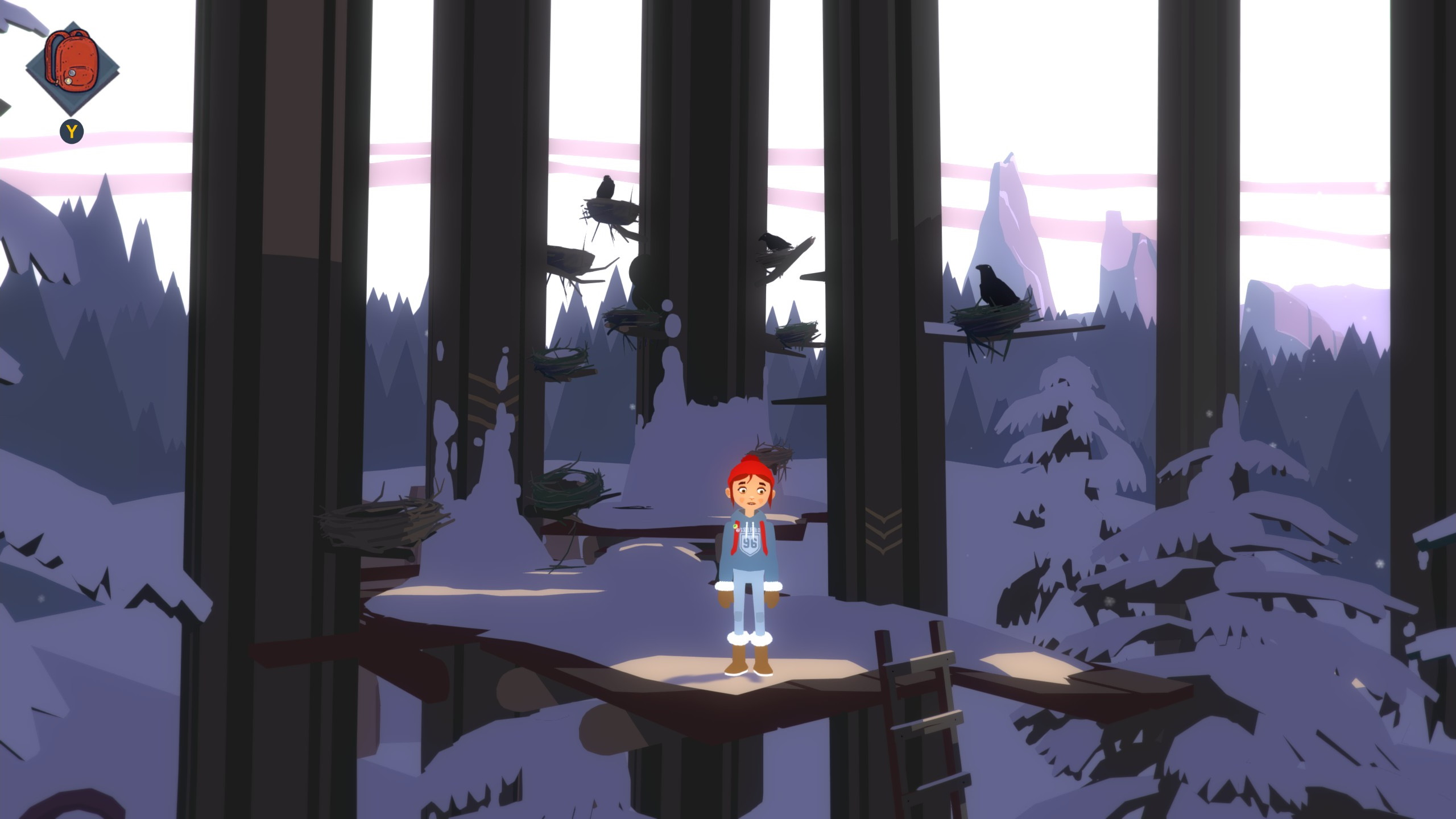 A screenshot of Tove from Roki standing on a ledge in the trees.
