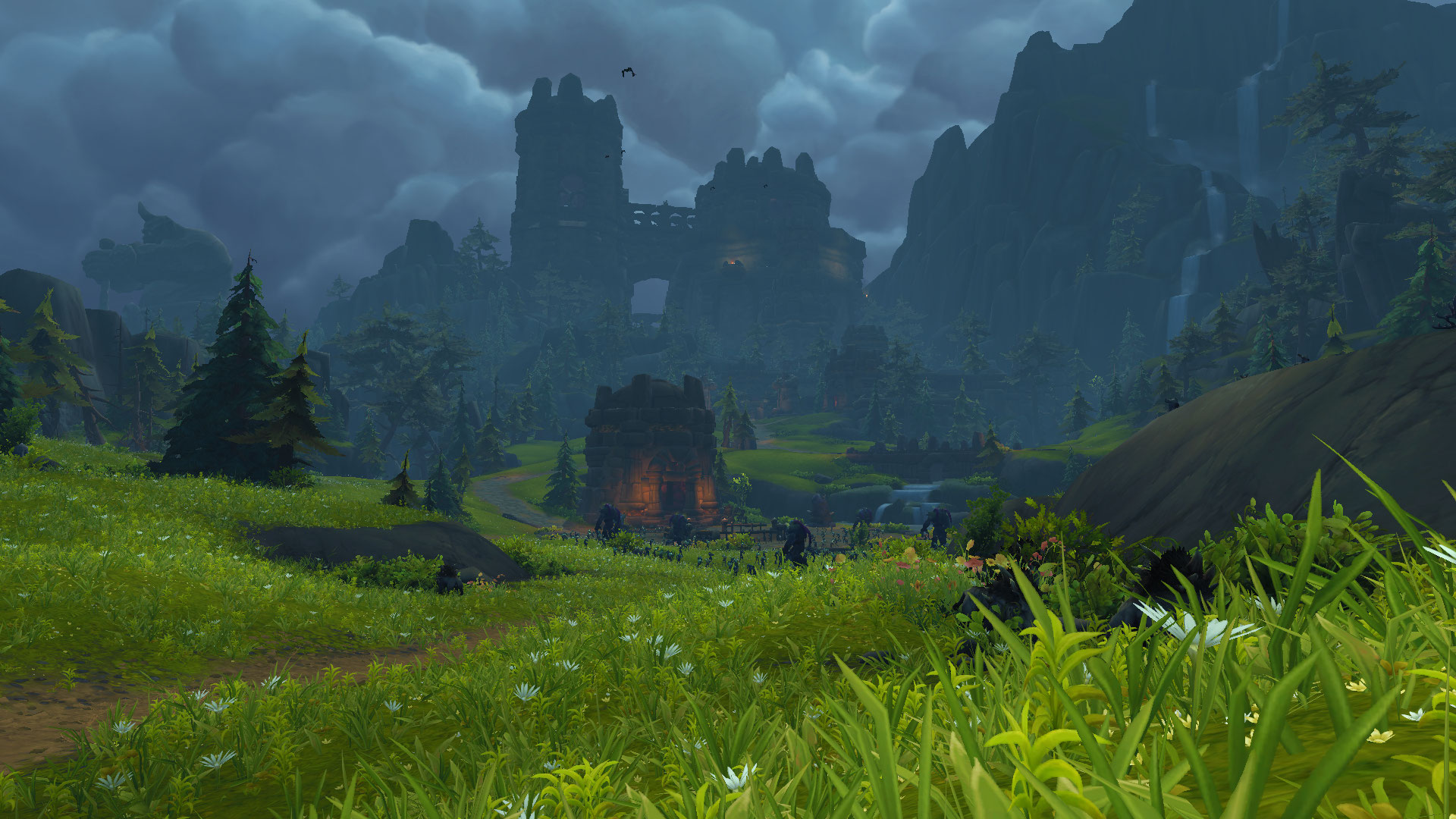 A screenshot showing the Exiles Reach area of WoW Shadowlands, with green fields in the foreground but an imposing castle and mountain in the background