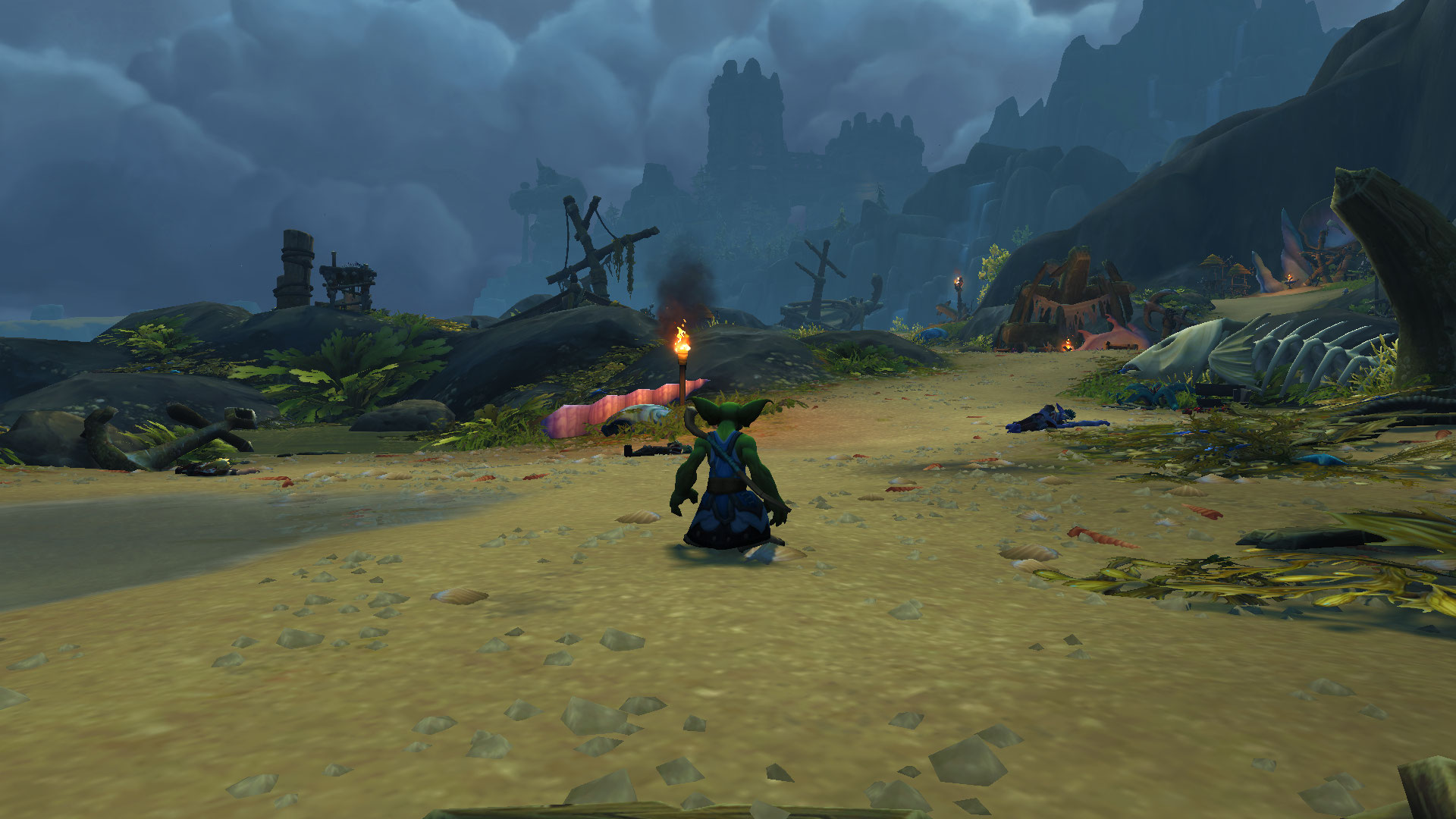 A screenshot of a goblin player character exploring the Shadowlands