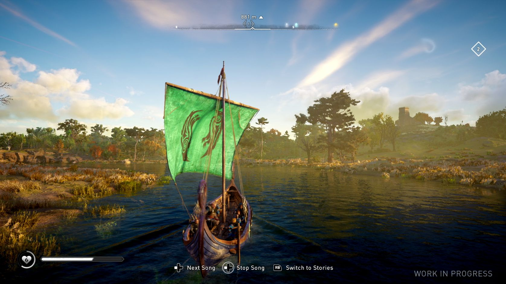 A screenshot showing your viking longboat on a river