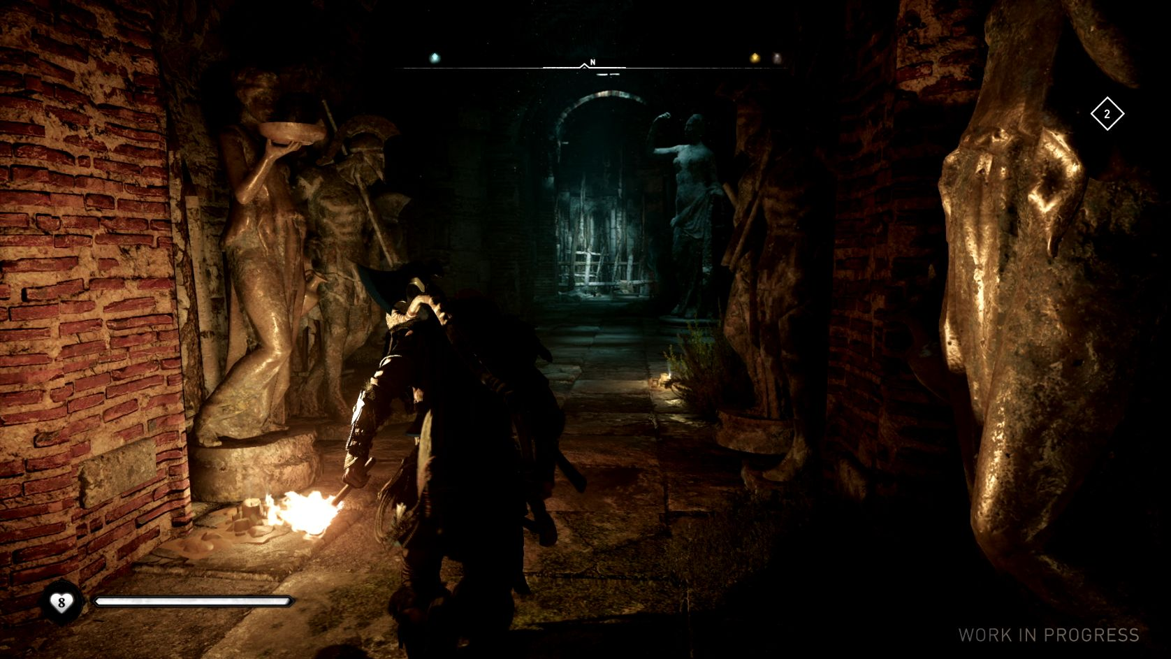 A screenshot of Eivor exploring a creepy underground tunnel