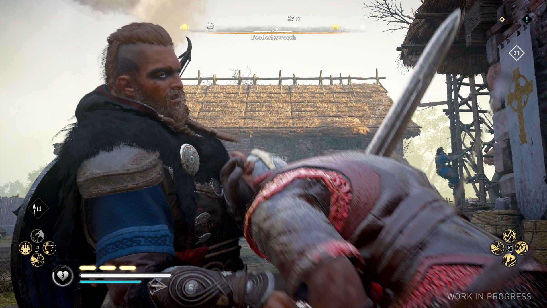 A screenshot showing the male Eivor driving a sword right through an enemy's tummy. Ouch.