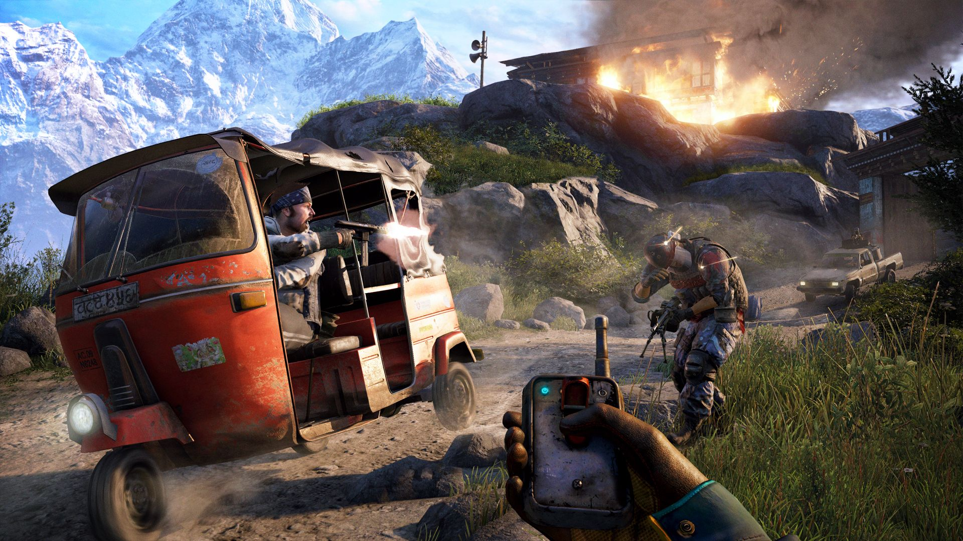 A screenshot of a man firing backwards out of the tuk tuk from Far Cry 4, aiming at an enemy just behind him