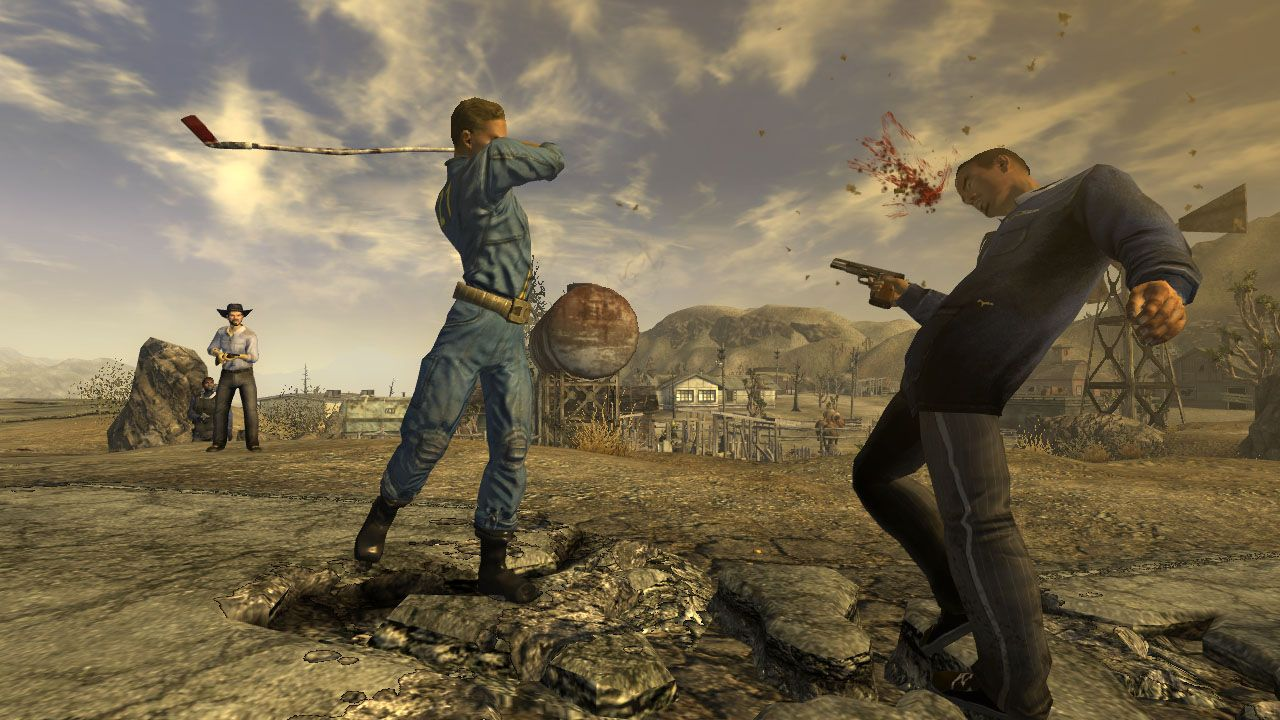 A screenshot showing Courier six, the player character of Fallout: New Vegas, hitting someone across the head with a golf club