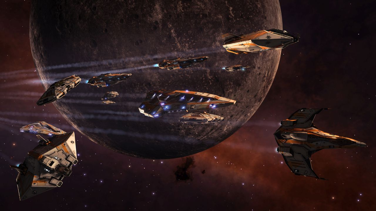 A screenshot showing a fleet of Fuel Rats flying boldly through space in Elite Dangerous