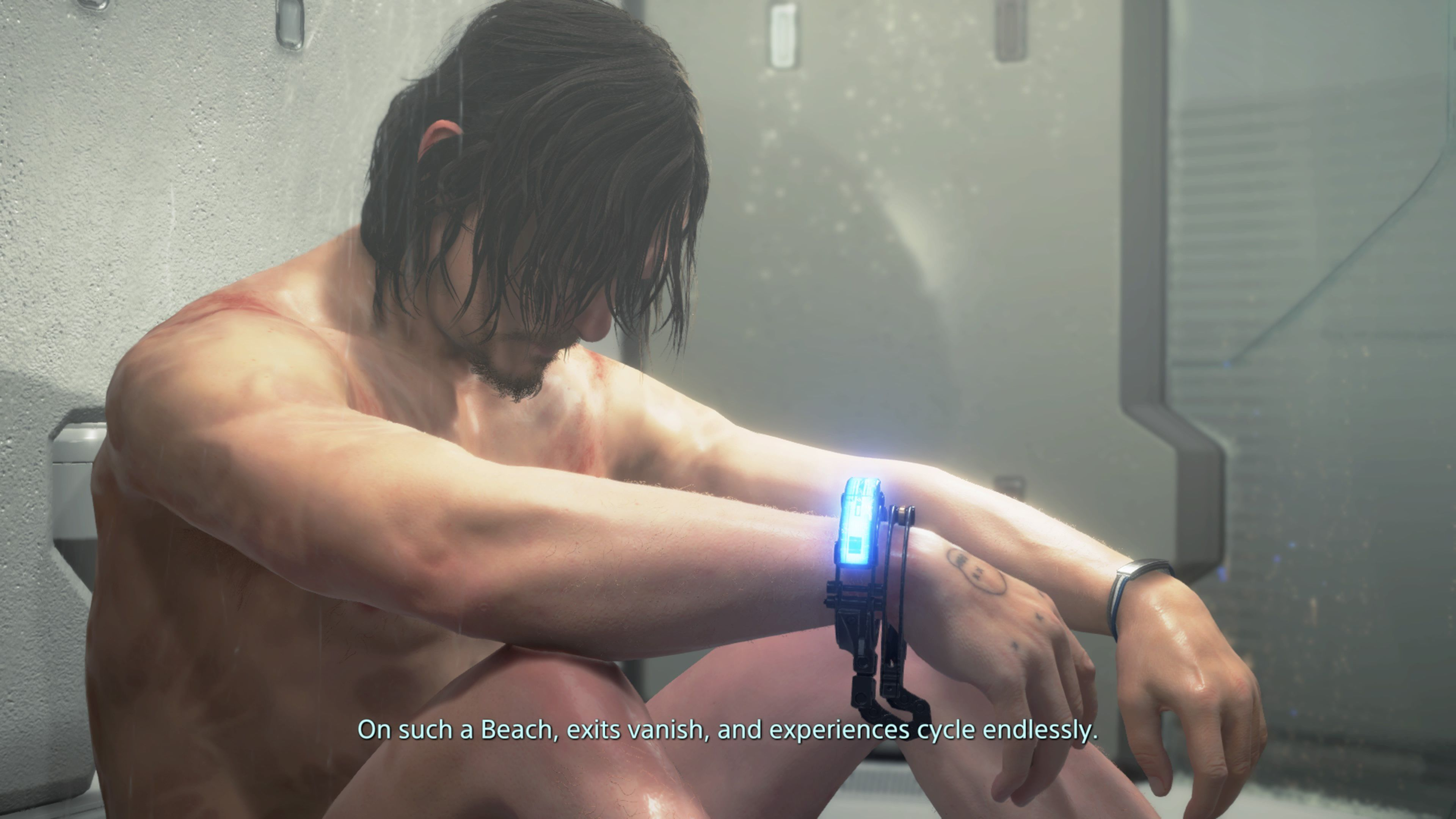A screenshot of Sam Porter Bridges sitting down in the shower in Death Stranding. Over a speaker, someone says 'On such a beach, exits vanish, and experiences cycle endlessly'