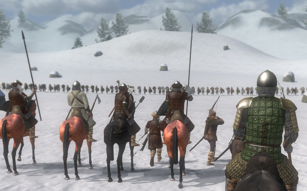 A screenshot from Mount & Blade: Warband showing some soldiers on horseback facing a huge row of enemy soldiers, all lined up on a snowfield