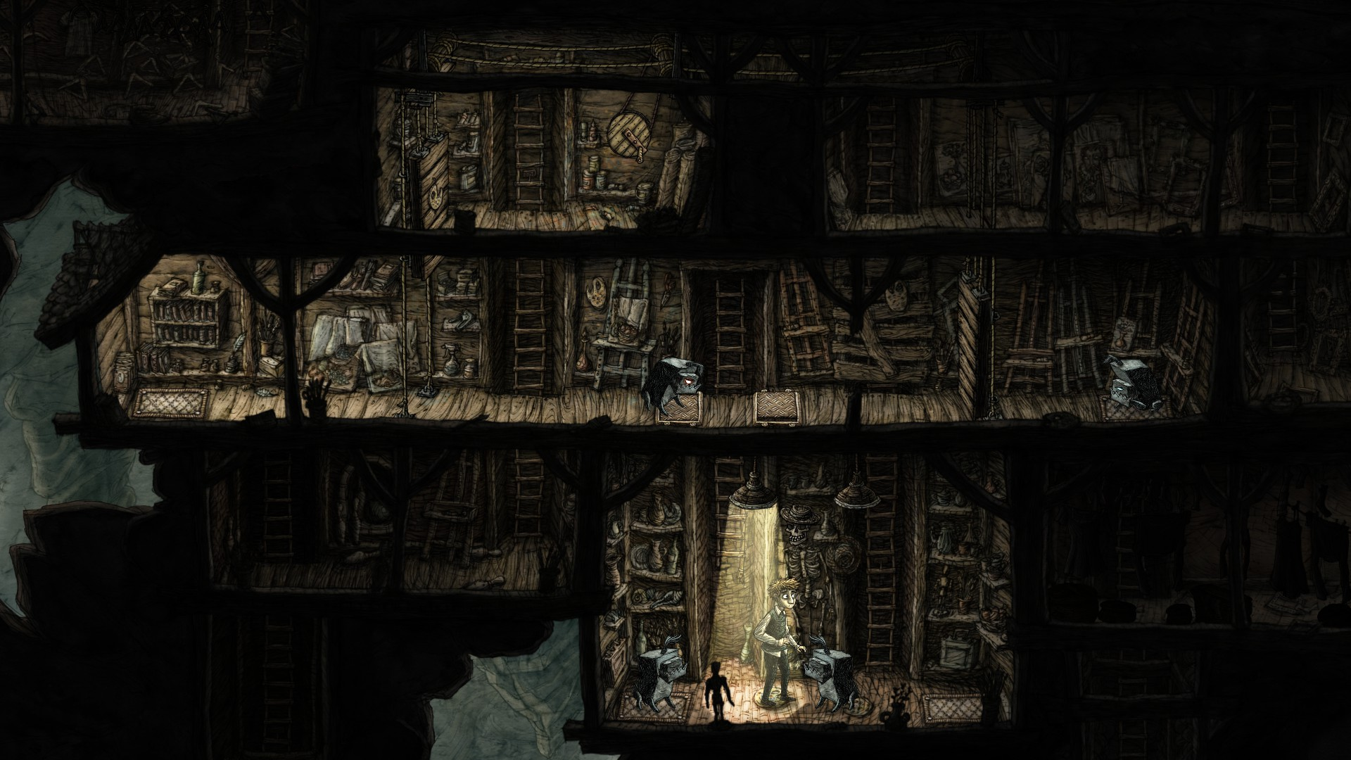 The player character stands under another cieling light, but this time surrounded by dogs, with more on the floor above. He is trapped.