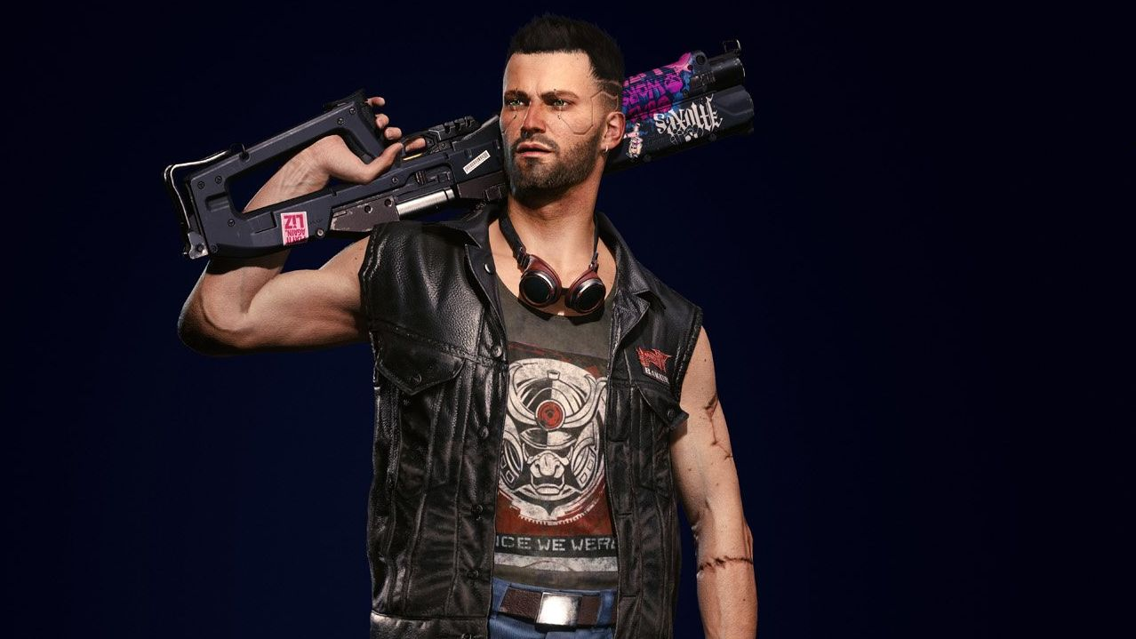 A screeshot of the Nomad V character model. He has a really big gun over his shoulder and is wearing a sleeveless leather jacket