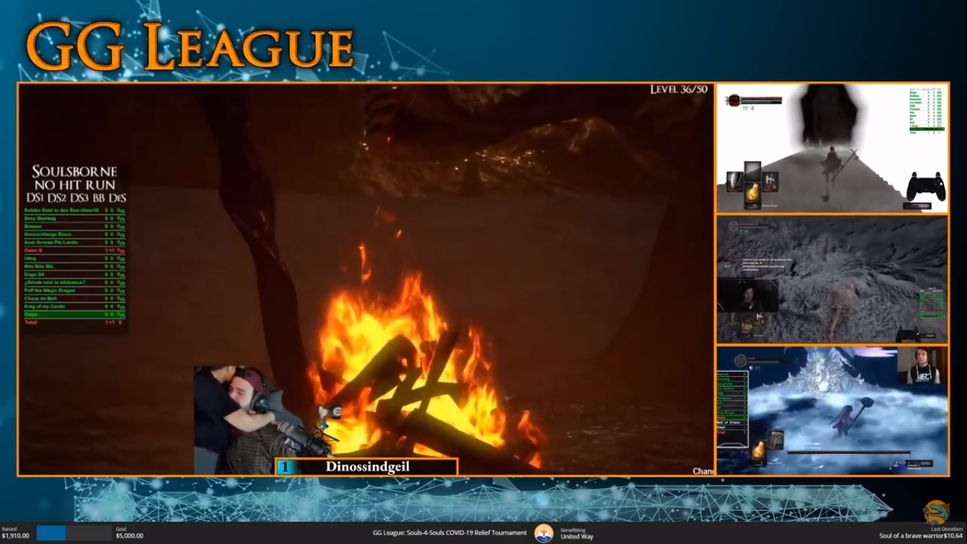 A screenshot of the end of streamer Dinossindgeil successful hitless run on the GG League charity tournament. The screen has the blue GG League overlay. Dinossindgeil's screen is the centre, and he is on screen getting a hug