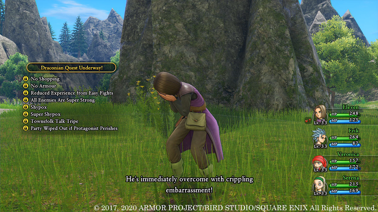 Dragon Quest XI screenshot shows a wizard immediately overcome with crippling embarrassment.