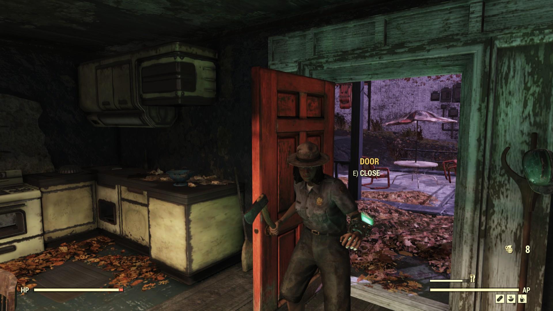 A screenshot showing Sin's NPC crashing through a the door of a deserted home, holding an axe
