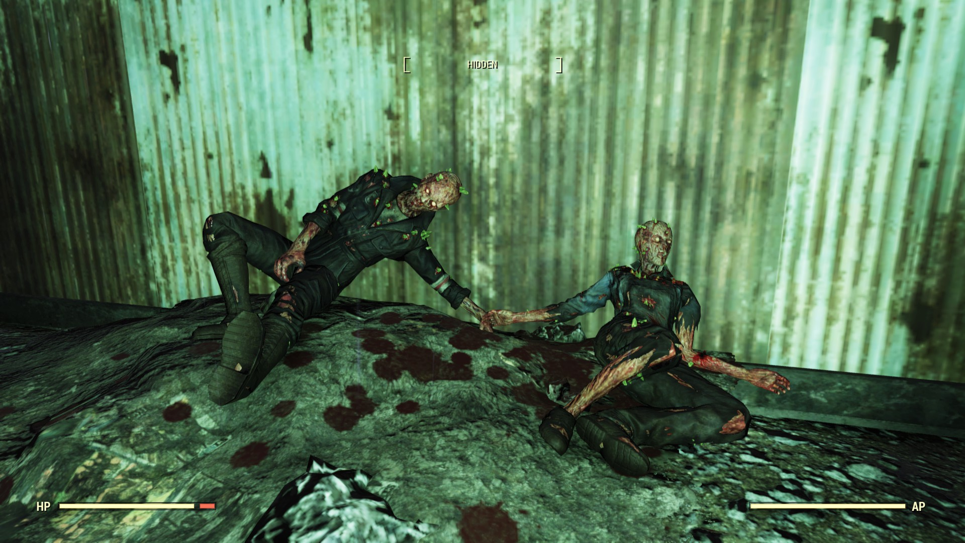 A screenshot from Fallout 76 showing two irradiated dead bodies holding hands