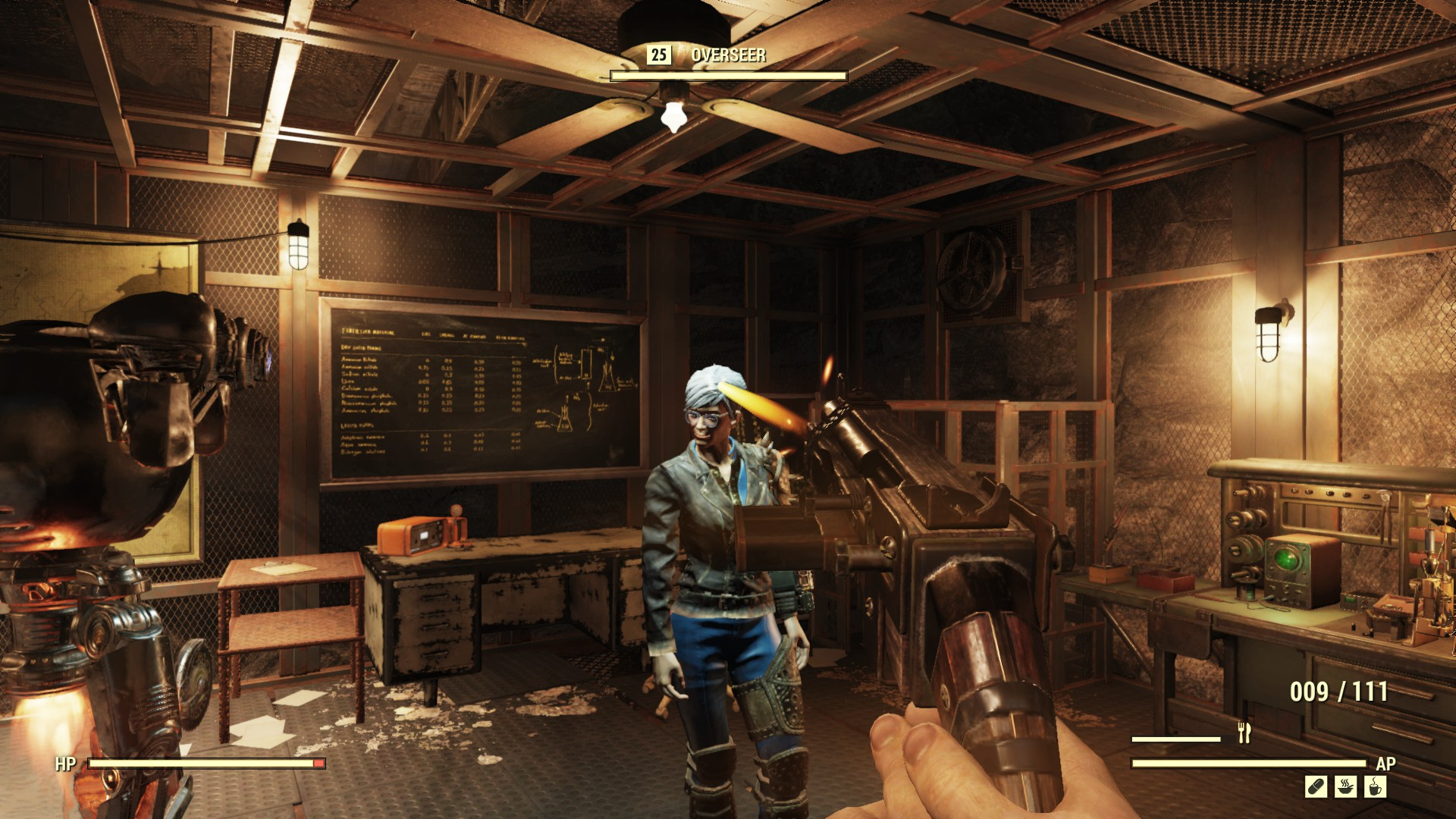 A screenshot showing Sin attempting to shoot the Fallout 76 Overseer in the head