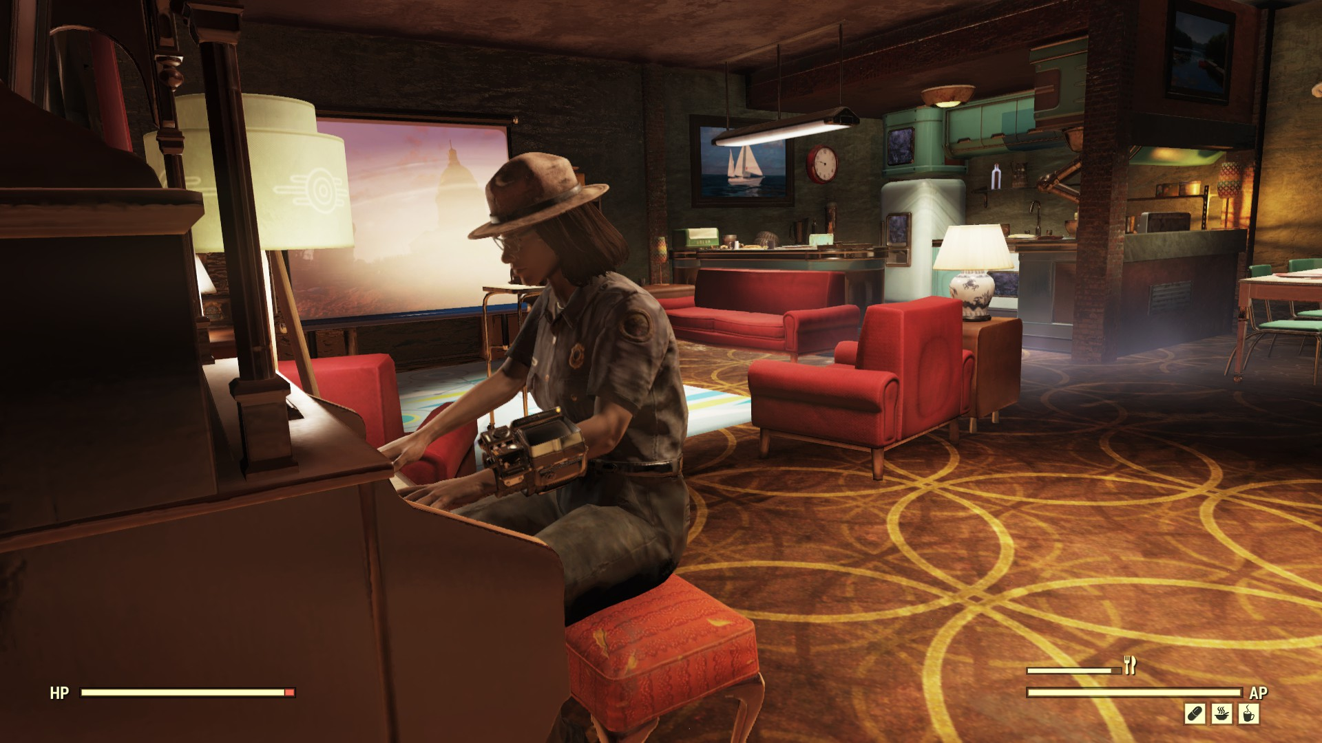 A player character sitting at a piano in a gloomy lounge (clearly an opulent lounge by post-apocalyptic standards though