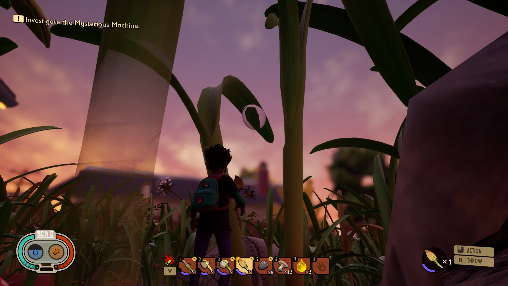 Third person view of the tiny player , looking out over a forest of grass and a pretty dawn sky. In the centre is a curved blade of grass with a large drop of dew on.