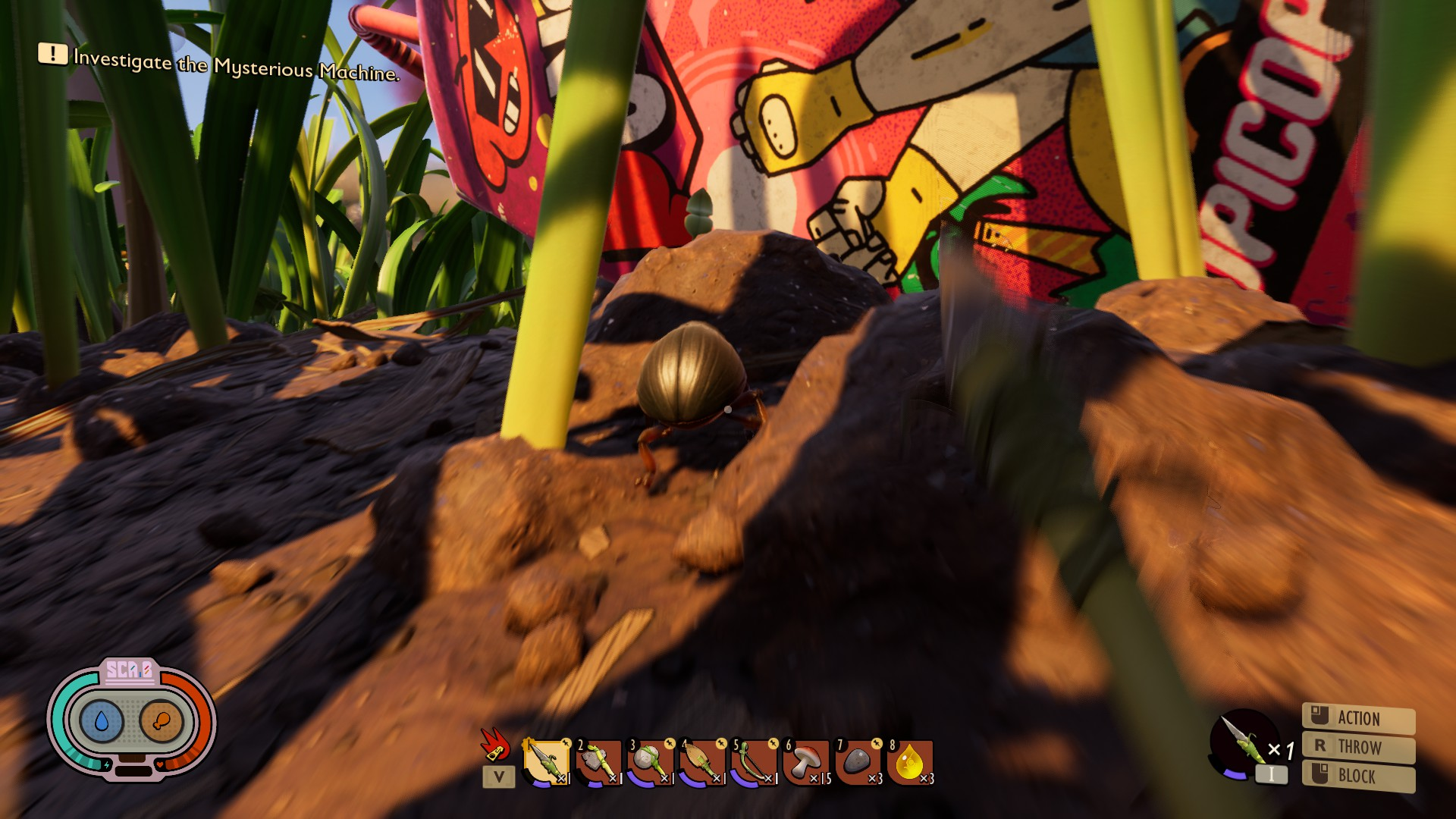 First person view of a player running after a weevil, brandhising a spear. A large colourful carton of juice is just ahead.