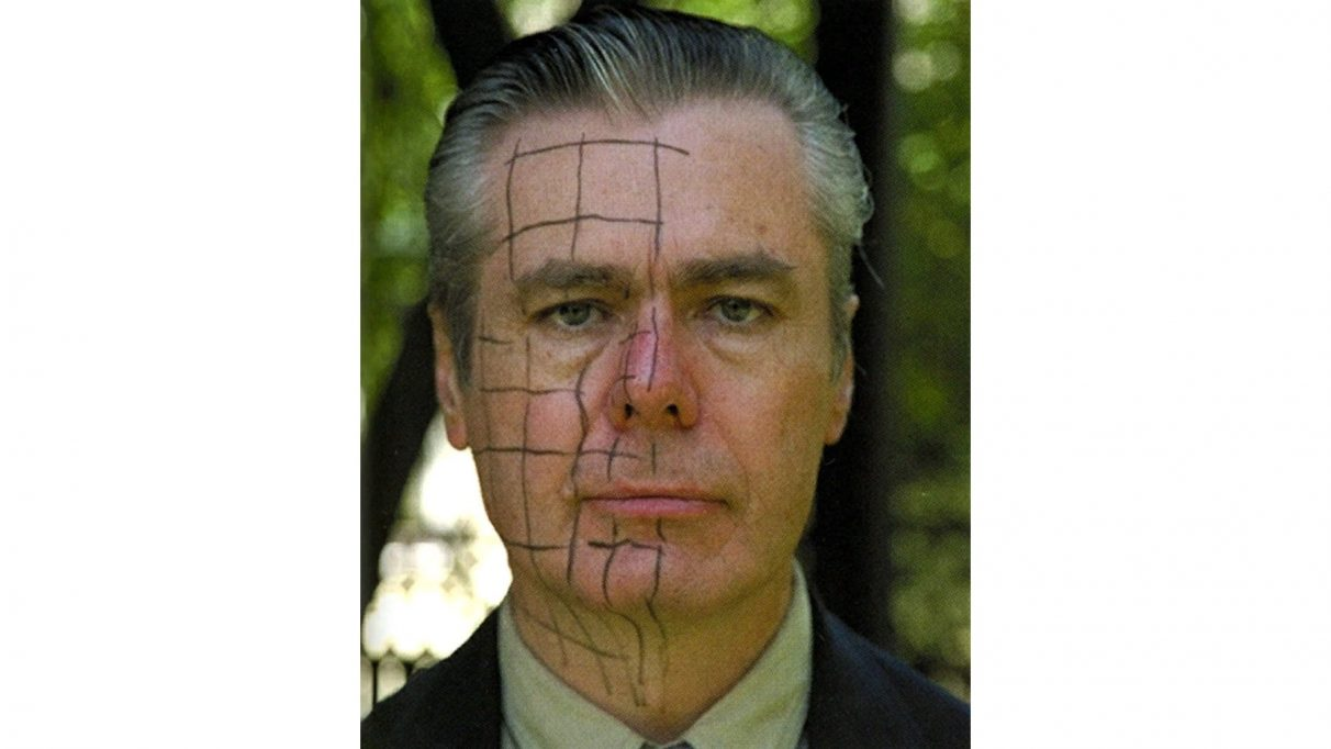 Half-Life's G-Man marked up for face scanning.