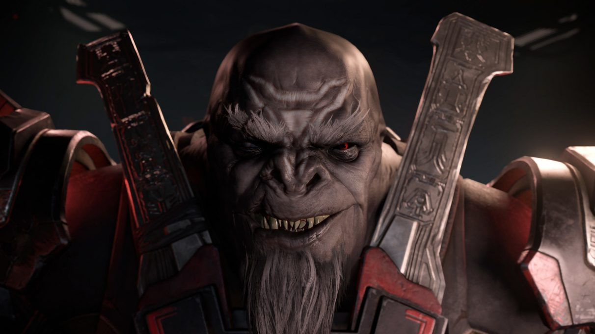 The simian villain Escharum in a frame from Halo Infinite's gameplay premiere trailer.
