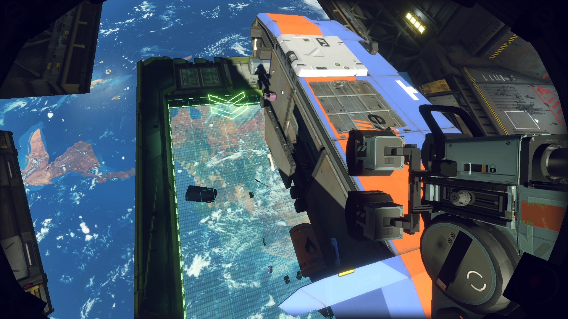A screenshot from Hardspace Shipbreaker showing the player poised over a ship, about to slice it open
