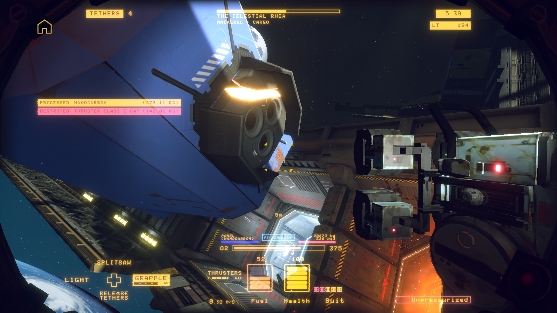 A screenshot of a valuable piece of salvage which the player has foolishly destroyed by cutting through it with the splitsaw tool