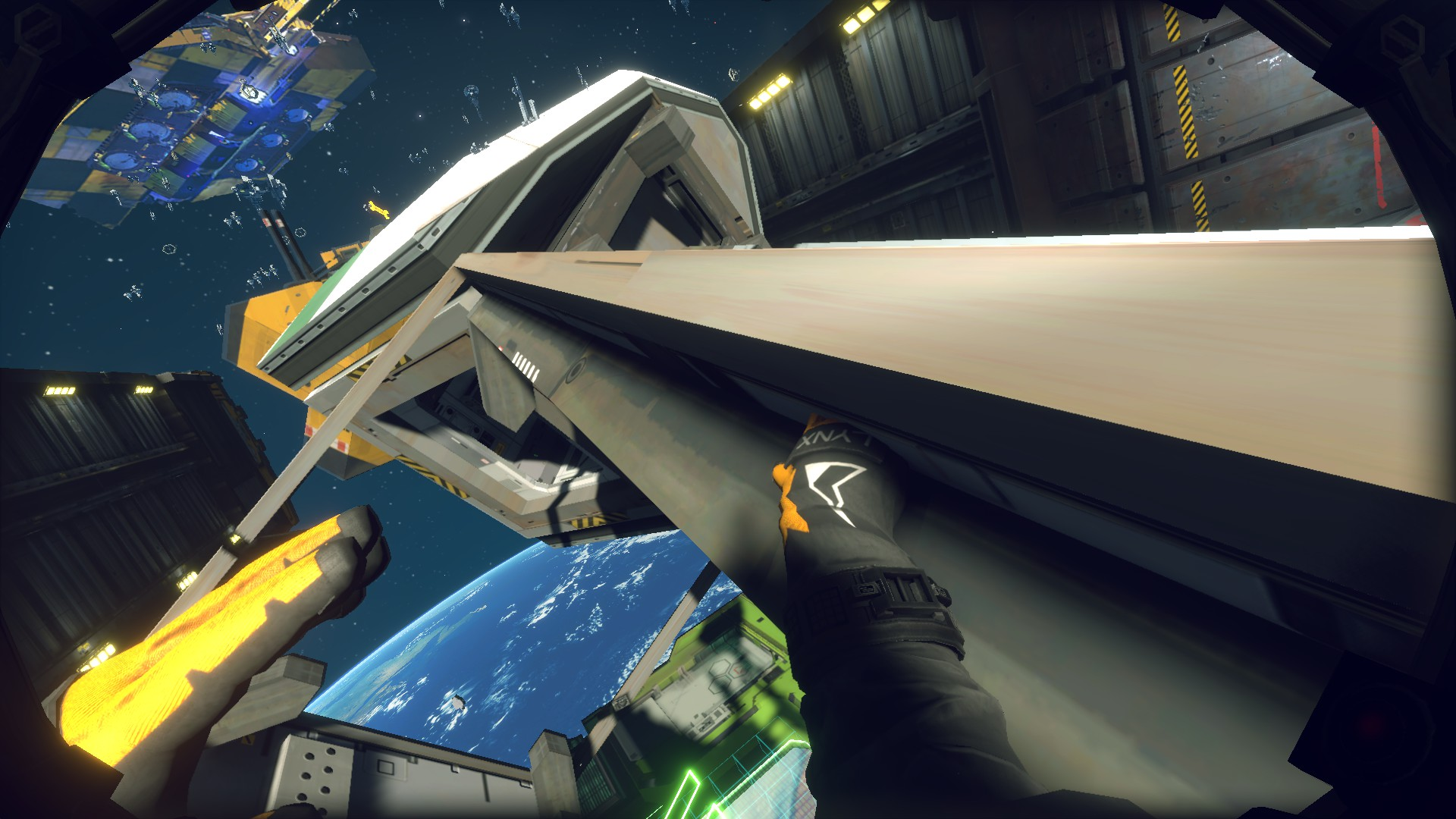 A screenshot of the player pulling themselves forwards using a metal girder