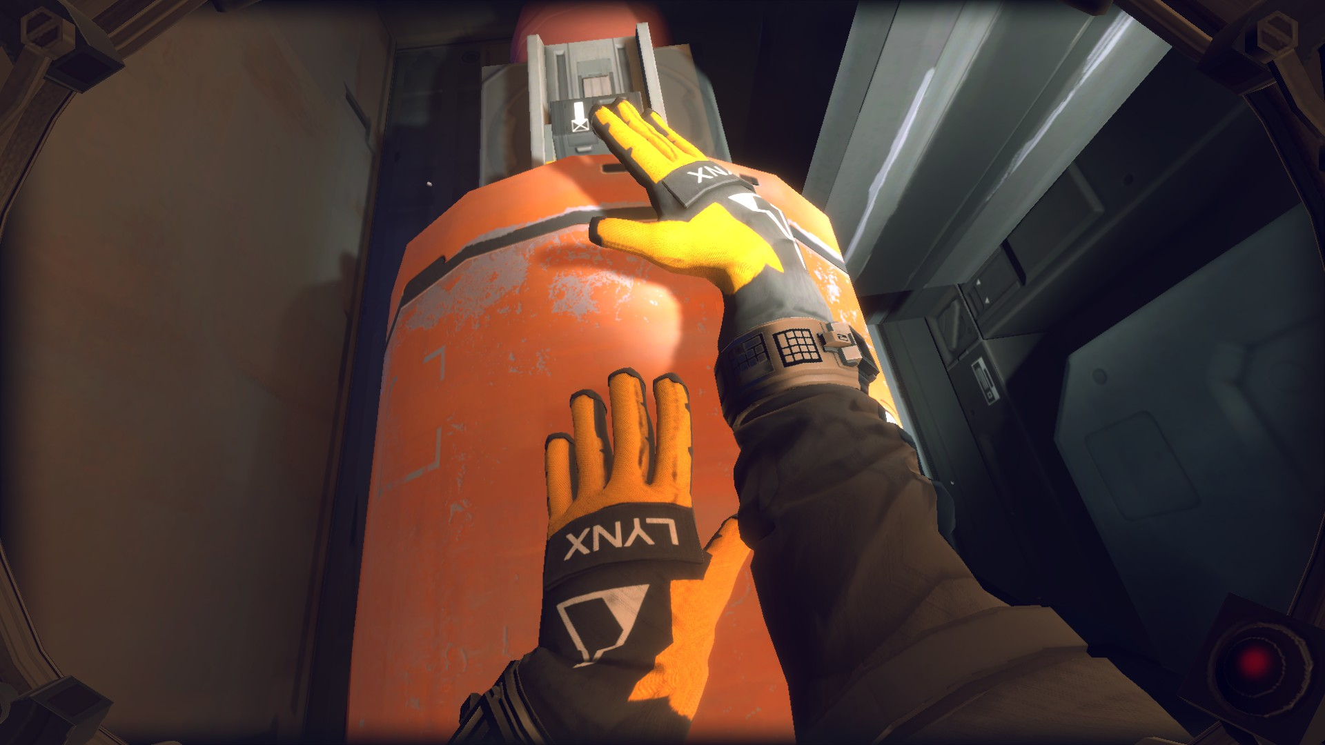 A screenshot of the player caressing an orange fuel pipe in Hardspace Shipbreaker