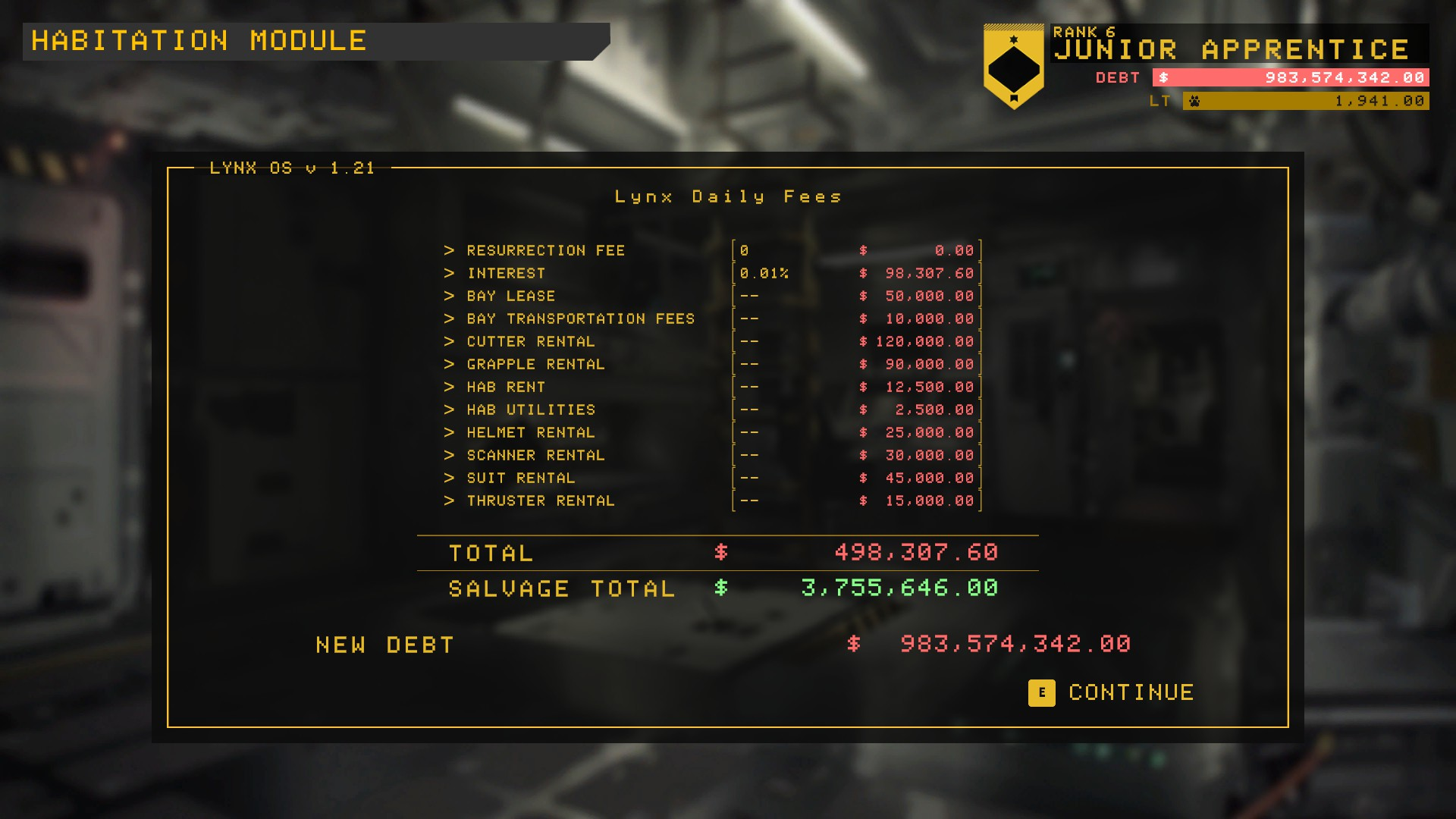 A screenshot showing the player's fees and debt in Hardspace Shipbreaker