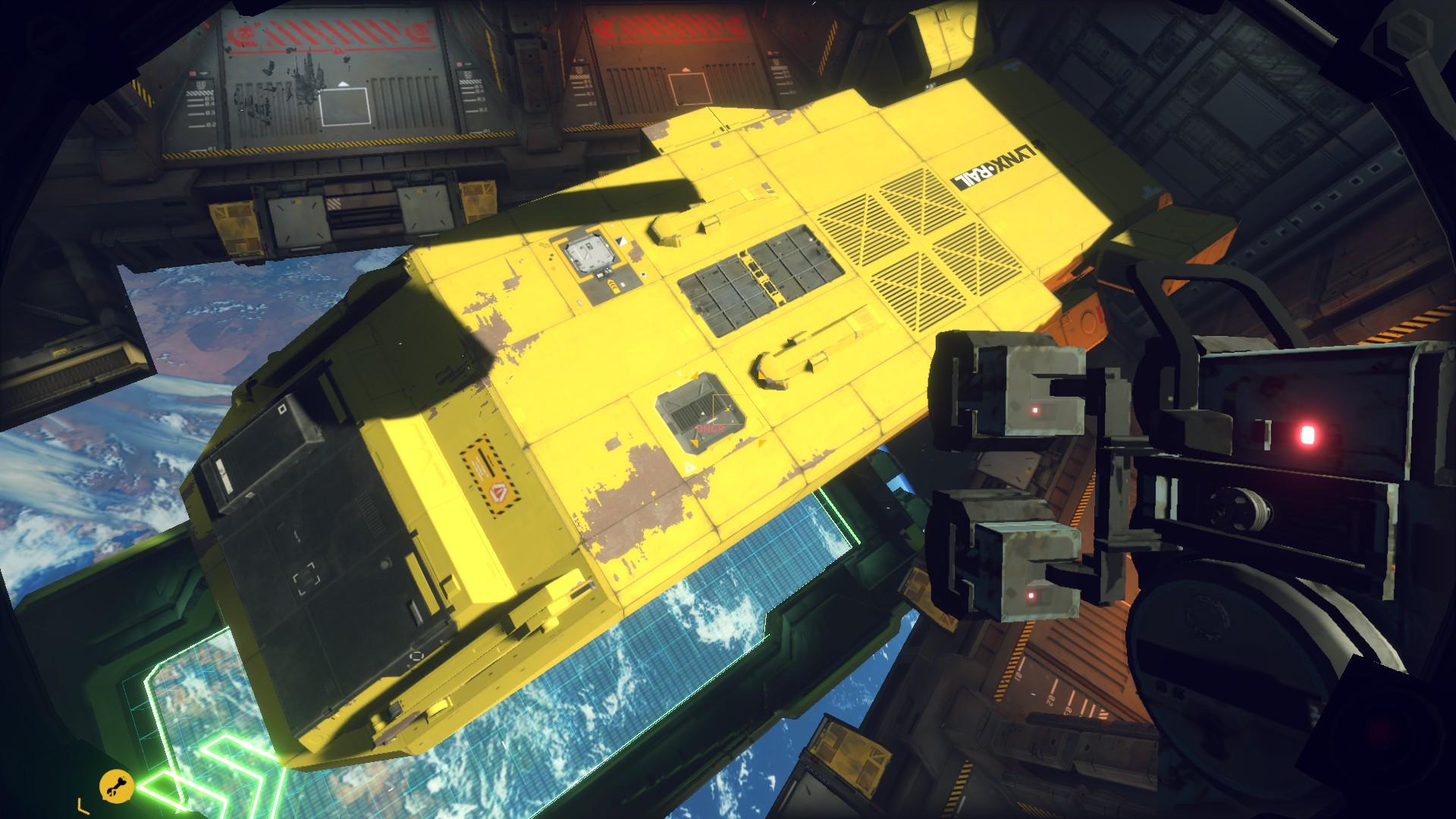 A screenshot of a bright yellow cargo ship in Hardspace Shipbreaker