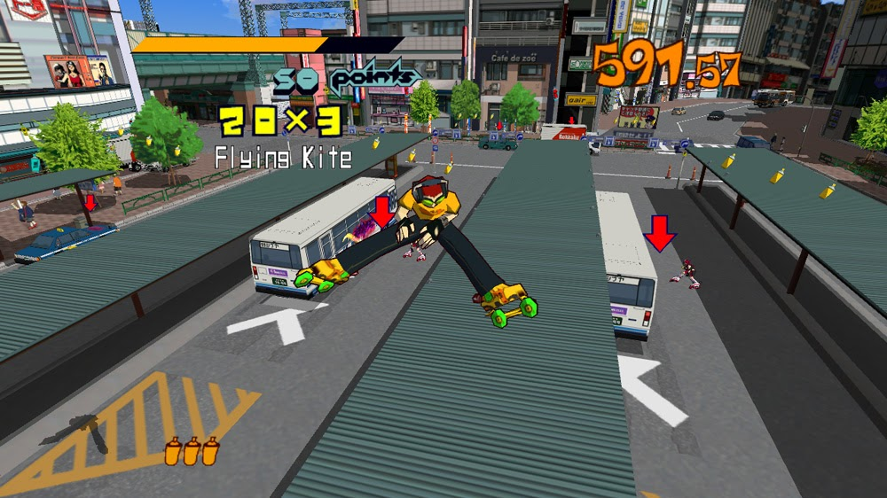 A screenshot of the player doing the splits in midair in Jet Set Radio