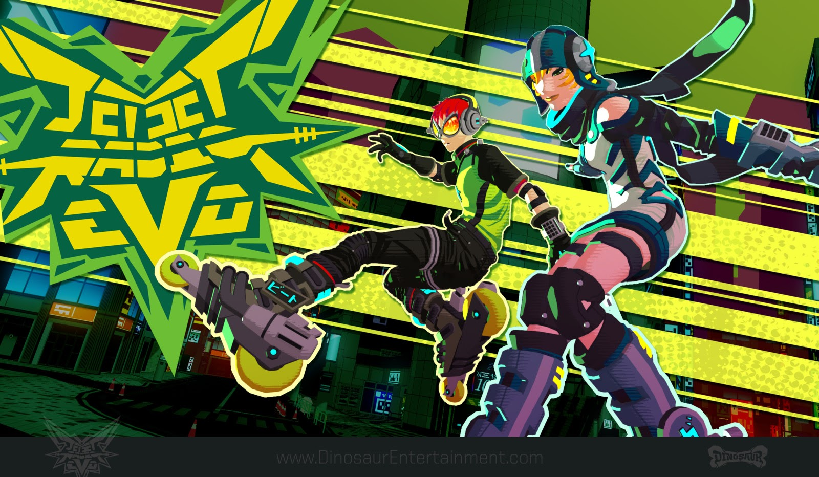 A screenshot of two characters from Jet Set Radio Evo, looking all cool and skating in front of dynamic green title art