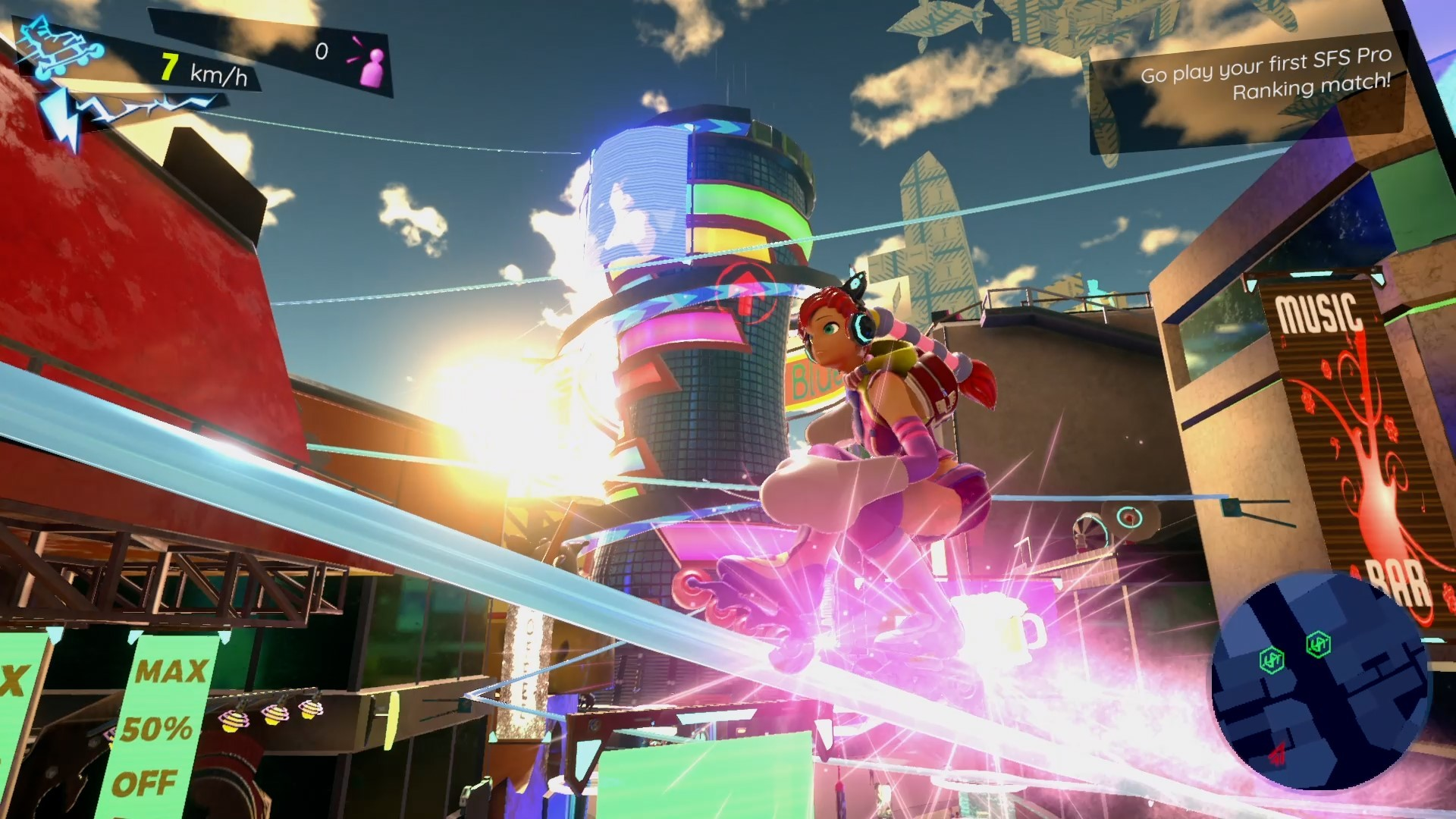 A screenshot of a player character in Neon Tail, grinding along a set of rails. They are wearing cat ear headphones