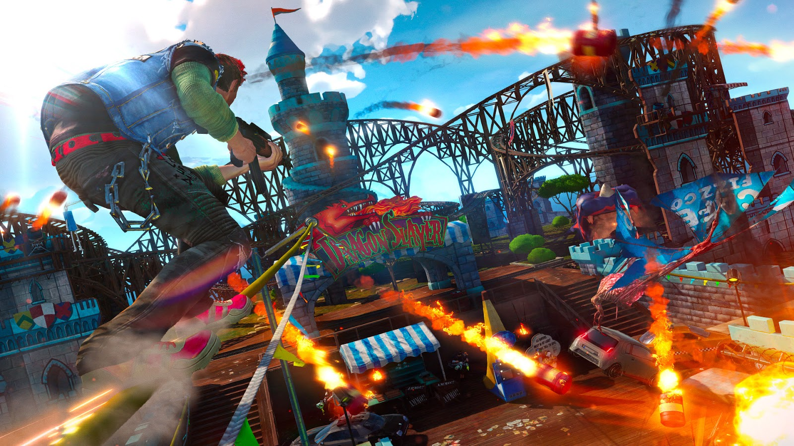 A screenshot of the player character in sunset overdrive, grinding along a rope whilst explosives fly through the air around them
