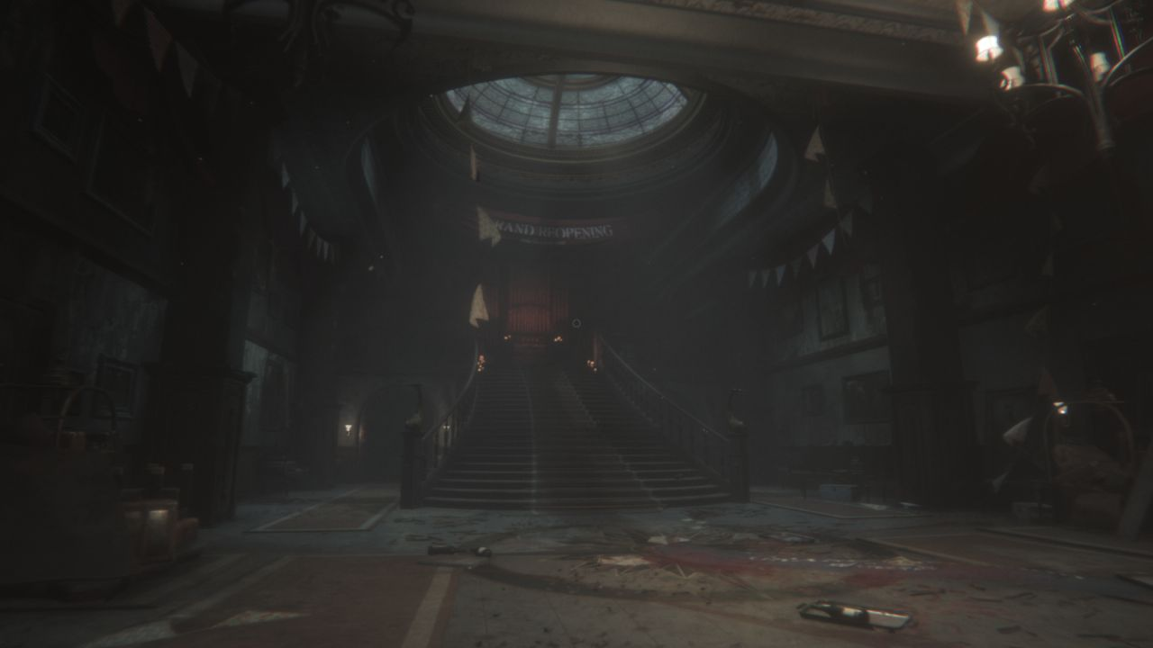 A screenshot of the main hall in Sker Hotel. A wide staircase leads up to a gran harmonium, under a banner reading 'Grand Reopening!' However, the floor is littered with discarded bottles and other detritus, and some broken bunting is hanging down from the ceiling. Something has clearly gone wrong.