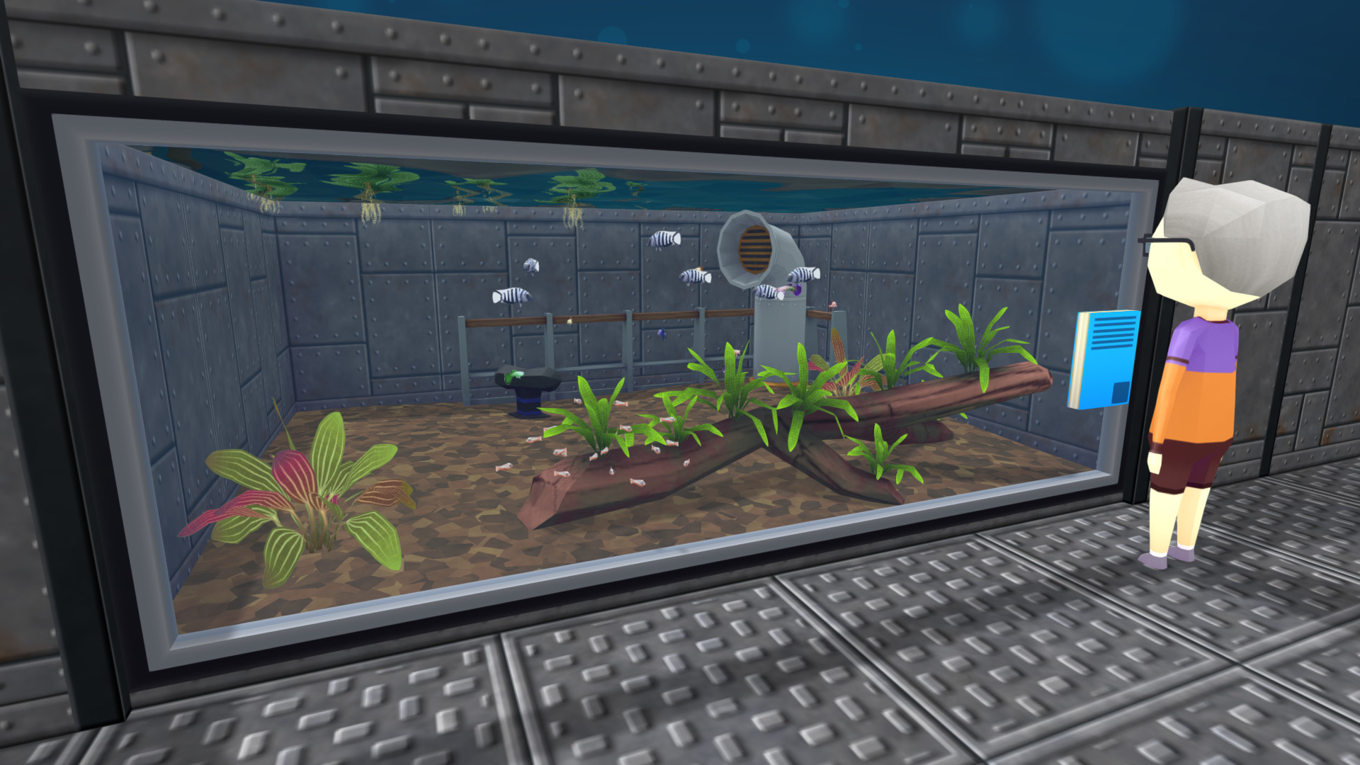 A screenshot of a visitor looking at an aquarium in Megaquarium's Freshwater Frenzy DLC