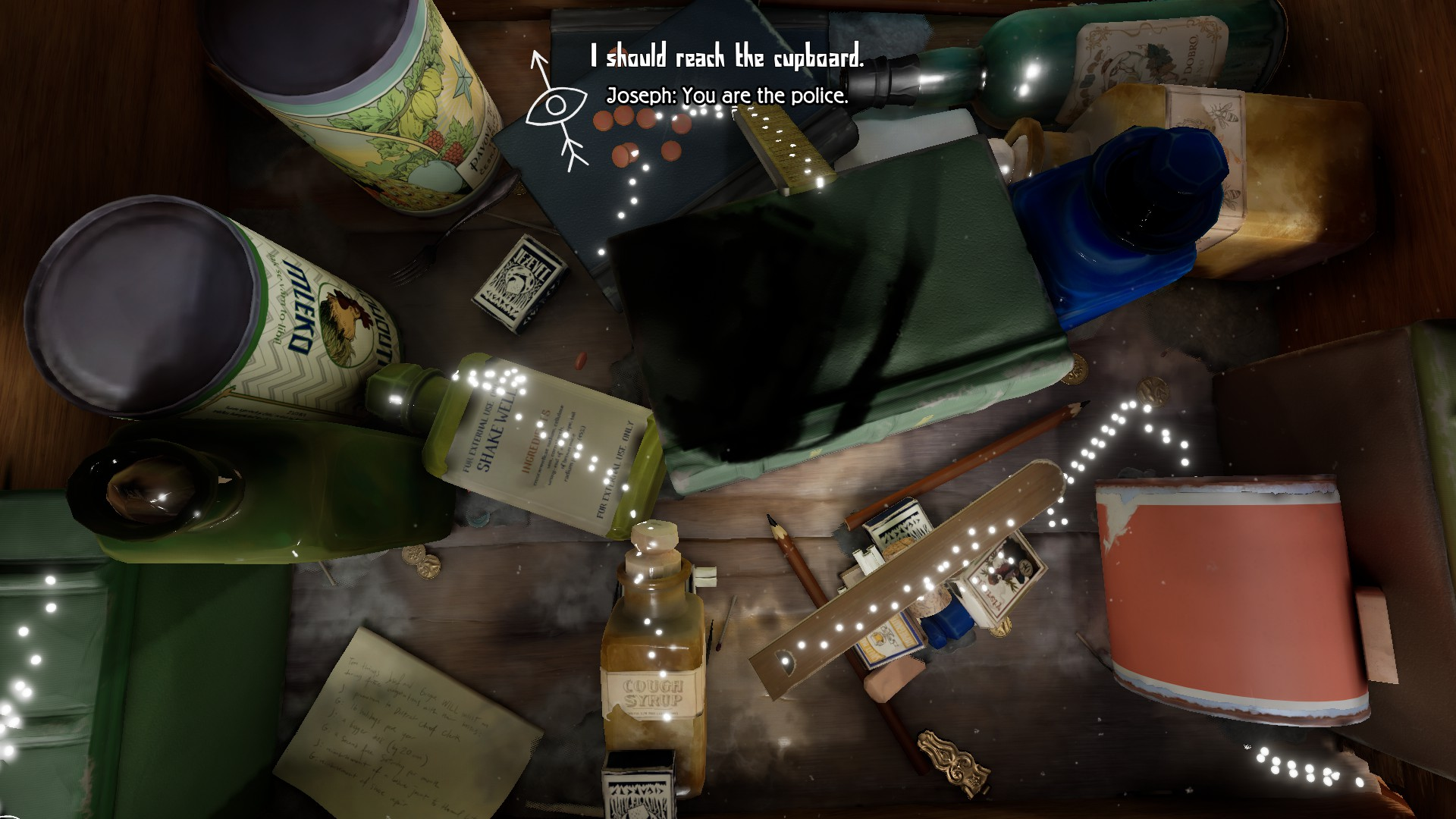 A top down view of a draw full of objects. Books, pencils, bottles, etc. Little glowing bug footprints trail in a winding path around the drawer.