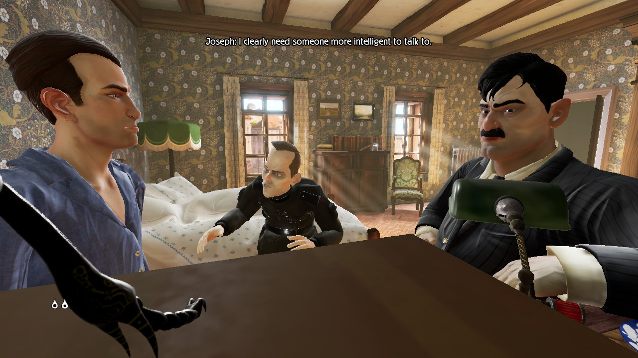 "A first person view from atop a shelf at eye level. Two men in uniform are confronting a man in blue pyjamas. The player's insect leg is visible on the left. Dialogue reads: ""Joseph: I clearly need someone more intelligent to talk to."""