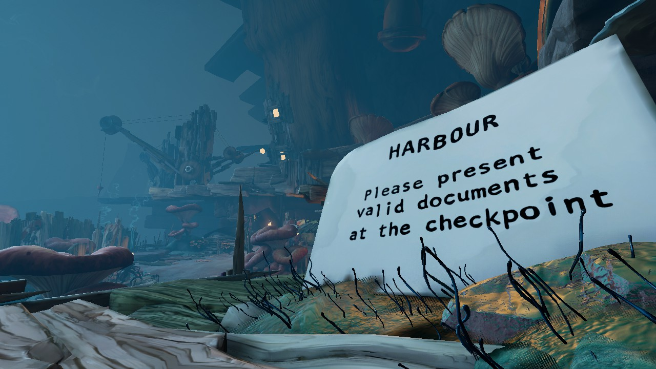 "A wide shot of a path leading down to a wooden dock, set in a stony, dark cavern. A huge piece of paper to the right reads: ""Harbour. Please present valid documents at the checkpoint""."