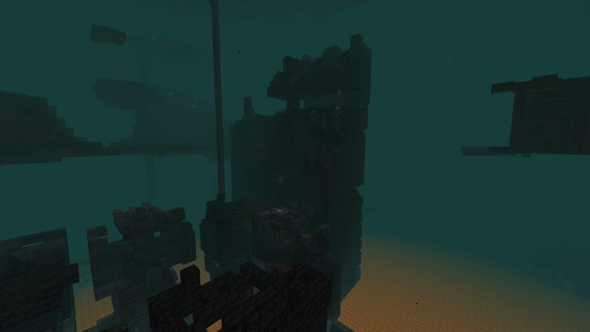 A screenshot of a sinister tower of rock, a Bastion Remnant, in the Nether in Minecraft
