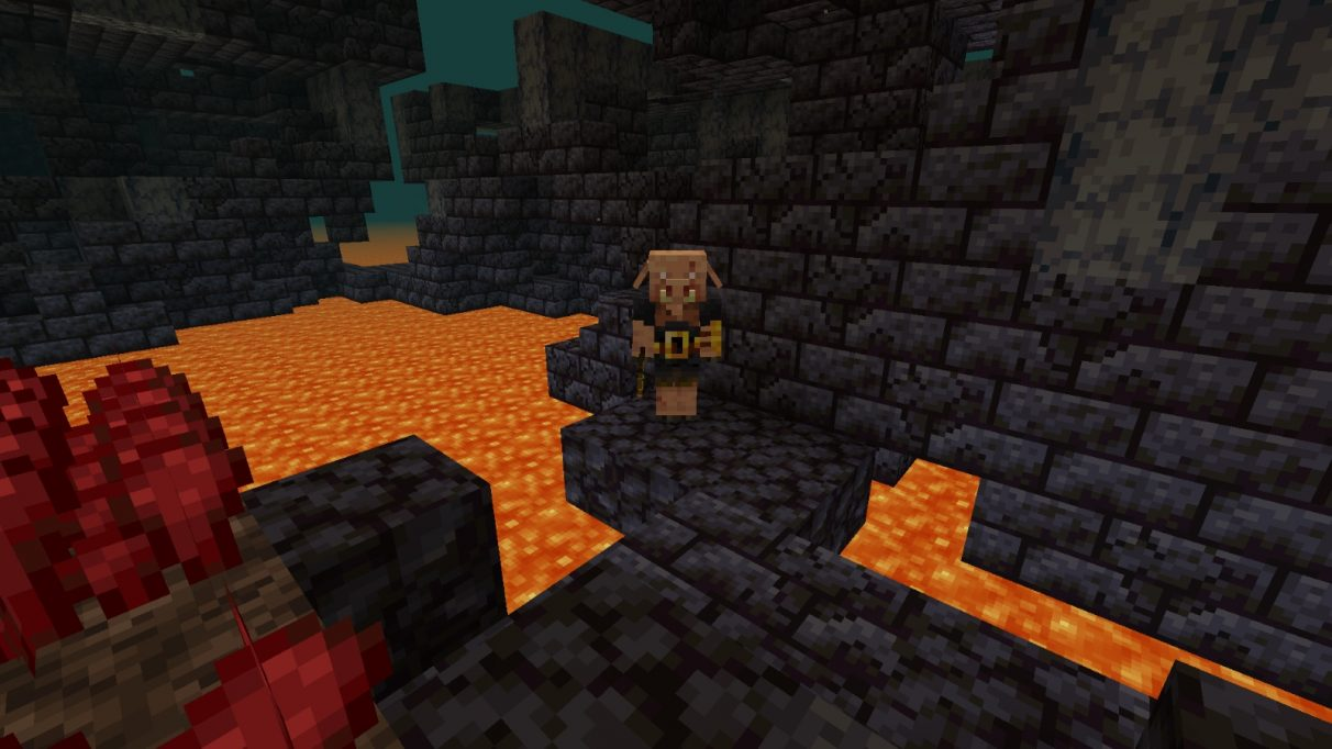 A screenshot of a Piglin Brute staring menacingly at the player character