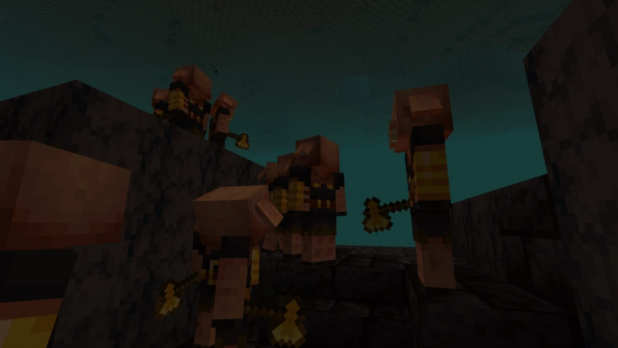 A screenshot of many Piglin Brutes milling around, having been forced into existence by Nate
