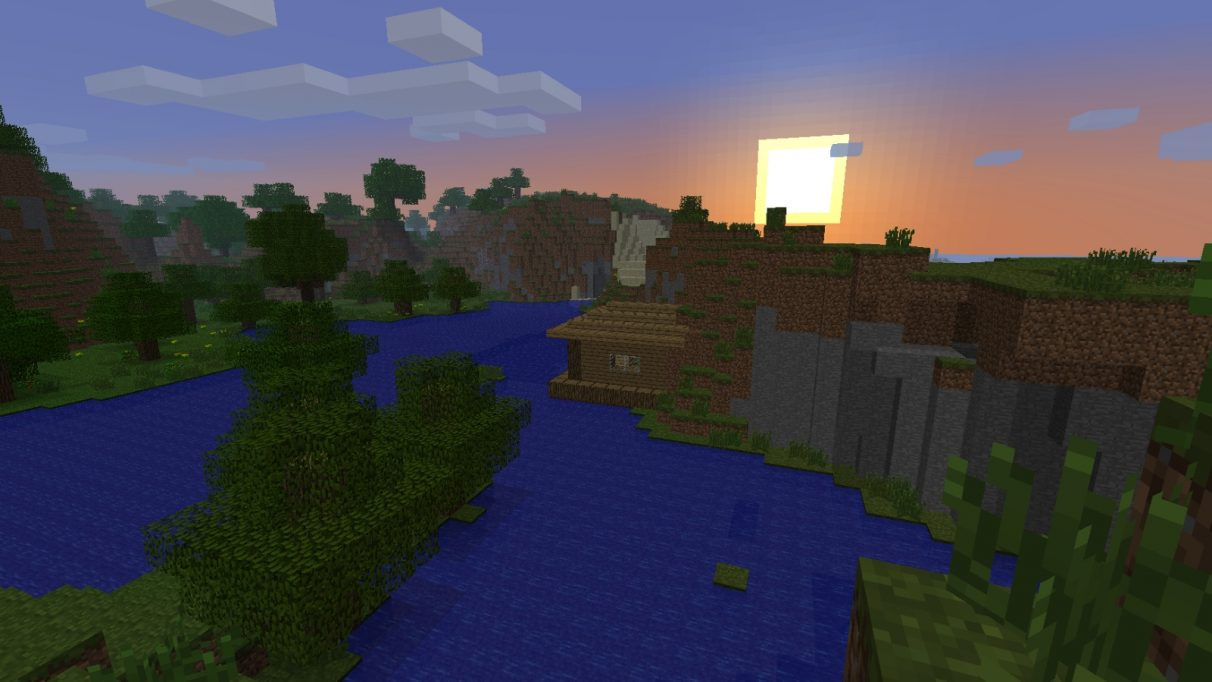 The camera shows the lake from the original Minecraft title screen. On the right shore, there is a simple Minecraft house under a setting sun.