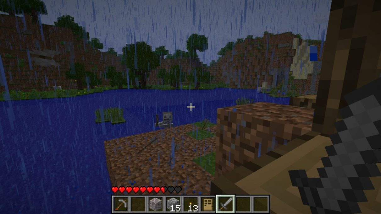 A screenshot of a skeleton, appearing to rise out of the lake as it advances to attack me